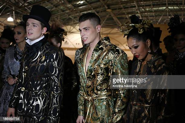 Models are seen backstage at the SLAVA ZAITSEV Haute Couture show during MercedesBenz Fashion Week Russia S/S 2014 on October 31 2013 in Moscow Russia
