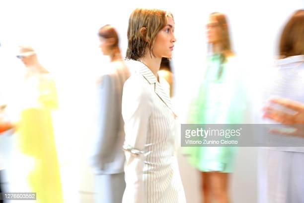 Models are seen backstage at the Sportmax fashion show during the Milan Women's Fashion Week on September 25, 2020 in Milan, Italy.