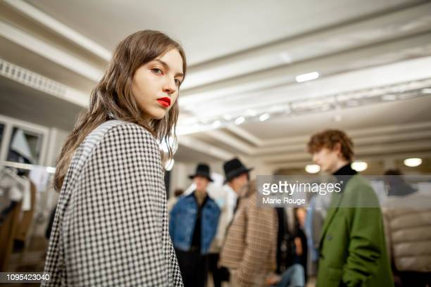 Models are seen backstage before the Ami Alexandre Mattiussi Menswear Fall/Winter 20192020 show at Palais de Chaillot on January 17 2019 in Paris...