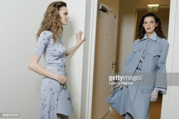 Models are seen backstage before the Nina Ricci show as part of the Paris Fashion Week Womenswear Fall/Winter 2017/2018 on March 4 2017 in Paris...