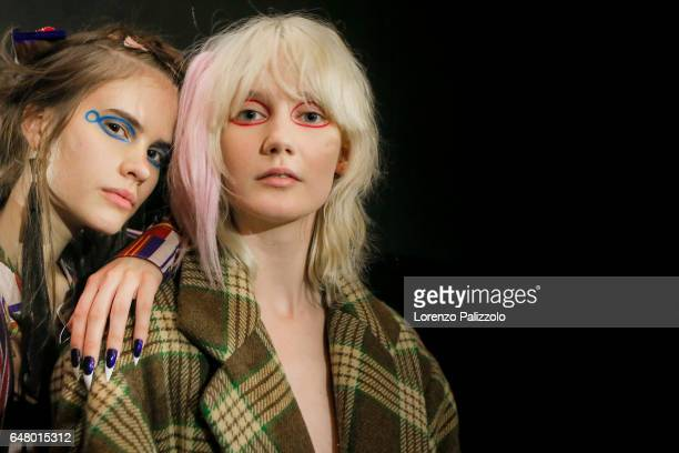 Models are seen backstage before the Vivienne Westwood show as part of the Paris Fashion Week Womenswear Fall/Winter 2017/2018 on March 4 2017 in...