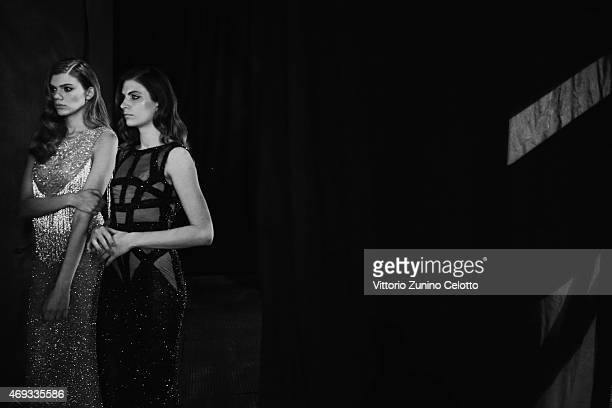 Models are seen backstage before the Yousef AlJasmi show during Dubai Fashion Forward April 2015 at Madinat Jumeirah on April 11 2015 in Dubai United...