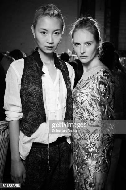 Models are seen backstage during Platform Fashion July 2017 at Areal Boehler on July 23 2017 in Duesseldorf Germany