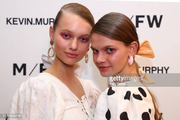 Models are seen backstage during Town Hall Runway 4 at Melbourne Fashion Week Melbourne Town Hall on September 03 2019 in Melbourne Australia