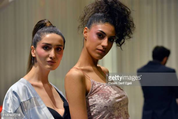 Models are seen backstage on the Ezra Tuba show during MercedesBenz Istanbul Fashion Week on March 21 2019 in Istanbul Turkey