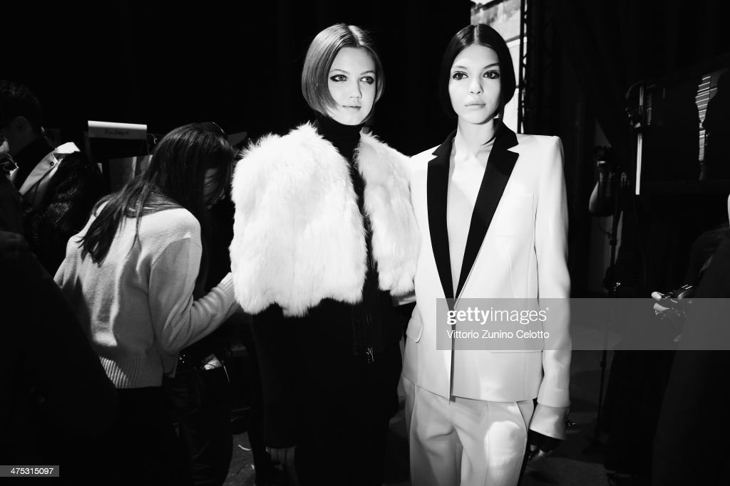 Models are seen backstage prior the IRFE by Olga Sorokina show as part of the Paris Fashion Week Womenswear Fall/Winter 2014-2015 at Espace Vendome on February 27, 2014 in Paris, France.