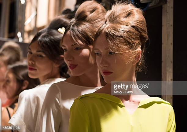 Models are seen backstage prior to the Mimpikita show during London Fashion Week Spring/Summer 2016 at Fashion Scout Venue on September 20 2015 in...