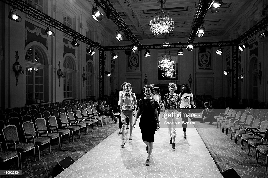 Models are seen during rehearsel on stage prior the Ernsting's family Fashion Show Autumn/Winter 2015 at Hotel Atlantic on July 16, 2015 in Hamburg, Germany.
