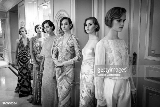 Models are seen during the Rami Al Ali Haute Couture Fall Winter 2018/2019 presentation as part of Paris Fashion Week on July 3 2018 in Paris France