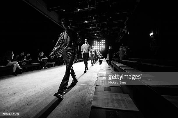 Models are seen in rehearsal backstage prior to the MAN show on day 1 of London Collections Men Spring Summer 2017 at Topshop Showspace on June 10...