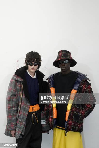 Models are seen in the backstage at the K-Way Fashion Show during the Milan Men's Fashion Week F/W 2021/2022 on January 17, 2021 in Milan, Italy.