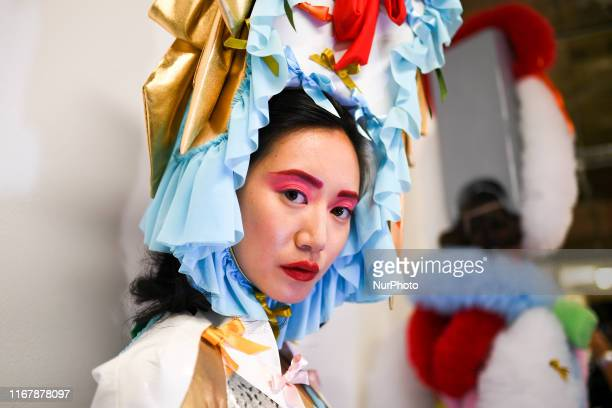 Models are seen in the backstage prior Pam Hogg catwalk during London Fashion Week September 2019, London on September 13, 2019.