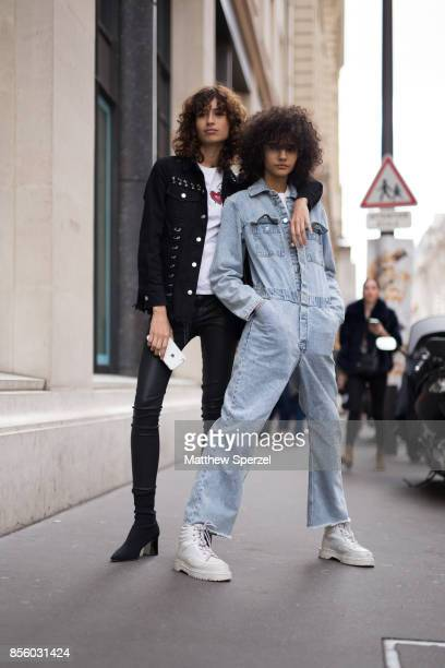 Models are seen leaving Acne Studios during Paris Fashion Week on September 30 2017 in Paris France
