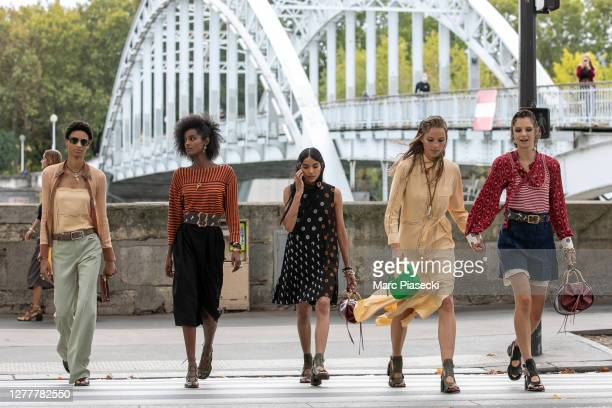 Models are seen on Avenue de New York prior the Chloe Womenswear Spring/Summer 2021 show as part of Paris Fashion Week on October 01, 2020 in Paris,...