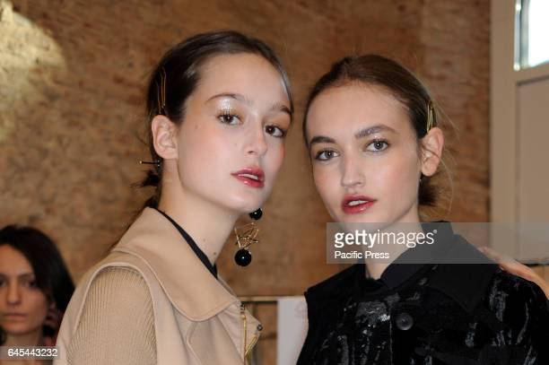 Models are seen on backstage ahead Cividini during Milan Fashion Week Fall/Winter 2017/18