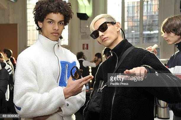 Models are seen on backstage of Wood Wood show during Milan Men's Fashion Week Fall/Winter 2017/18