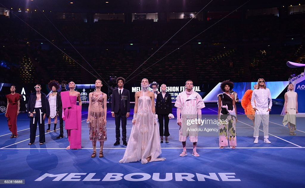 Models are seen on the court during a presentation ahead of Melbourne fashion week, which will be held between March 1-19, at Rod Laver Arena, which will be host the 2017 Australian Open's finals, in Melbourne, Australia on January 27, 2017.