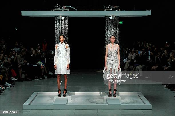Models are seen on the runway during the Chalayan show as part of the Paris Fashion Week Womenswear Spring/Summer 2016 on October 2 2015 in Paris...