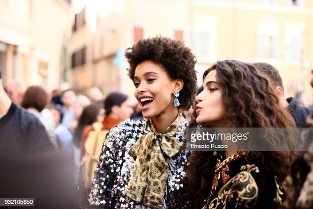 Models are seen on the set of the Dolce Gabbana campaign at Fontana Di Trevi on March 14 2018 in Rome Italy