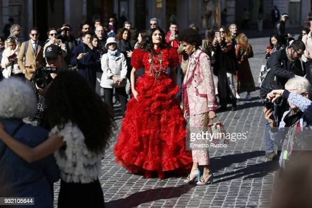Models are seen on the set of the Dolce Gabbana campaign at Piazza Di Spagna on March 14 2018 in Rome Italy