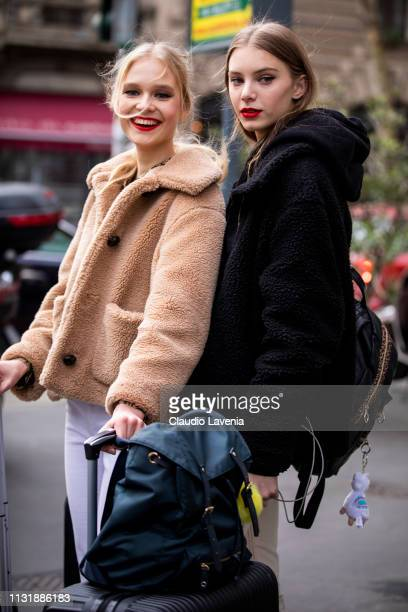 Models are seen outside Dolce Gabbana on Day 5 Milan Fashion Week Autumn/Winter 2019/20 on February 24 2019 in Milan Italy