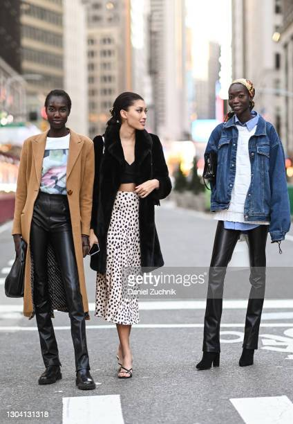 Models are seen outside the Christian Siriano show during New York Fashion Week F/W21 on February 25, 2021 in New York City.