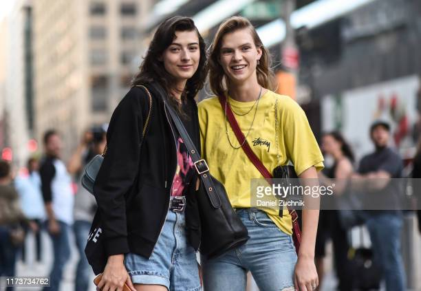 Models are seen outside the Coach show during New York Fashion Week S/S20 on September 10, 2019 in New York City.