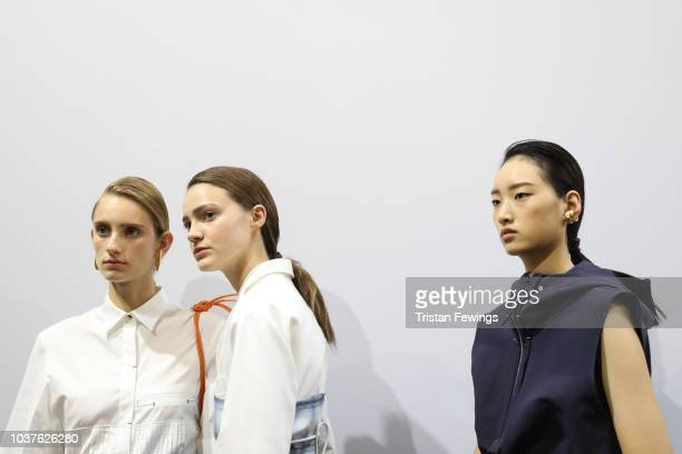 Models are seen backstage ahead of the Gabriele Colangelo show during Milan Fashion Week Spring/Summer 2019 on September 22 2018 in Milan Italy