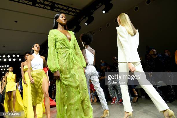 Models are seen walking the runway at Aliette fashion show during New York Fashion Week The Shows at Gallery II at Spring Studios on September 11...