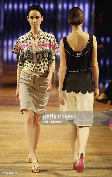 Models are seen wearing the latest designs by Mathew Williamson at the Signet Library during the Edinburgh International fashion festival April 29...