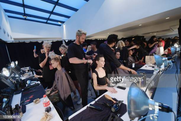 Models are styled backstage at the Chromat show New York Fashion Week The Shows at Spring Studios on September 7 2018 in New York City