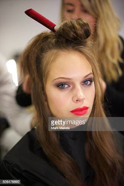 Models are styled backstage at the Temperley autumn 2011 collection at The British Museum in London on 20 February 2011 This runway show marked the...