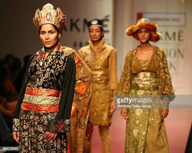 Models are walking on the ramp with Agnimitra Paul outfit at Lakme India Fashion Week2007 in Mumbai Maharashtra India