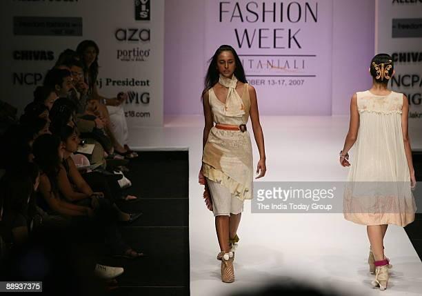 Models are walking on the ramp with Fashion designer Agnimitra Paul outfit at Lakme Fashion Week Spring Summer2007 in Mumbai Maharashtra India