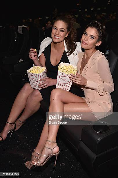 Models Ashley Graham and Sara Sampaio attend the #ActuallySheCan Film Series event at Bow Tie Chelsea Cinemas on April 21, 2016 in New York City.