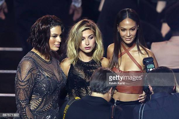 Models Ashley Graham Hailey Baldwin and Joan Smalls attend the 2016 MTV Video Music Awards at Madison Square Garden on August 28 2016 in New York City