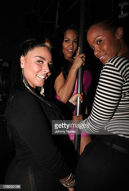 Models Ashley Logan Rosa Acosta and Mizz DR attend DJ KaySlay's Straight Stuntin Magazine party at Sue's Rendezvous on October 11 2011 in Mount...
