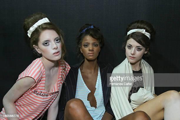 Models at backstage at the Samuel Cirnansck show at Sao Paulo Fashion Week Winter 2014 on November 1 2013 in Sao Paulo Brazil
