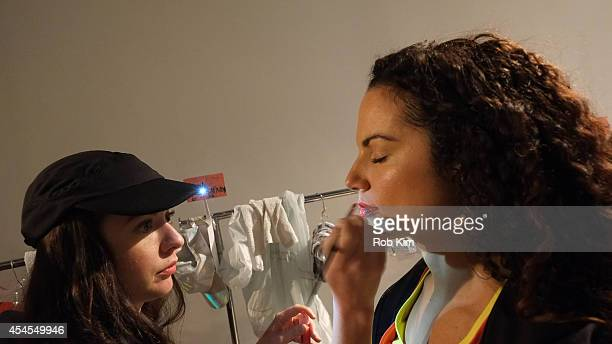 Models at hair and makeup backstage at Athleta during MercedesBenz Fashion Week Spring 2015 at SIR Stage on September 3 2014 in New York City