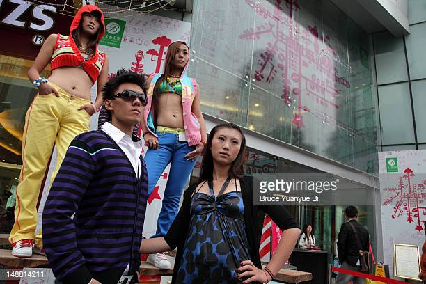 models at street fashion show. - fashion collection stock pictures, royalty-free photos & images