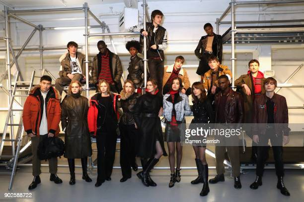 Models at the Belstaff AW18 Mens Womens Presentation during London Fashion Week Men's January 2018 on January 8 2018 in London England