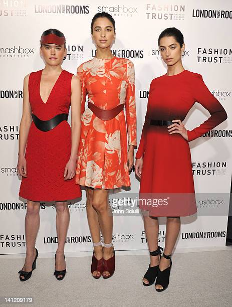Models at the British Fashion Council's LONDON Show ROOMS LA opening cocktail party at Smashbox Studios on March 12 2012 in West Hollywood California