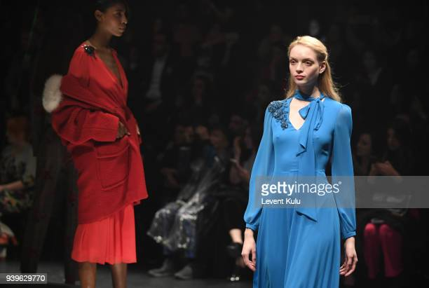 Models at the Exquise presentation during Mercedes Benz Fashion Week Istanbul at Zorlu Performance Hall on March 29 2018 in Istanbul Turkey