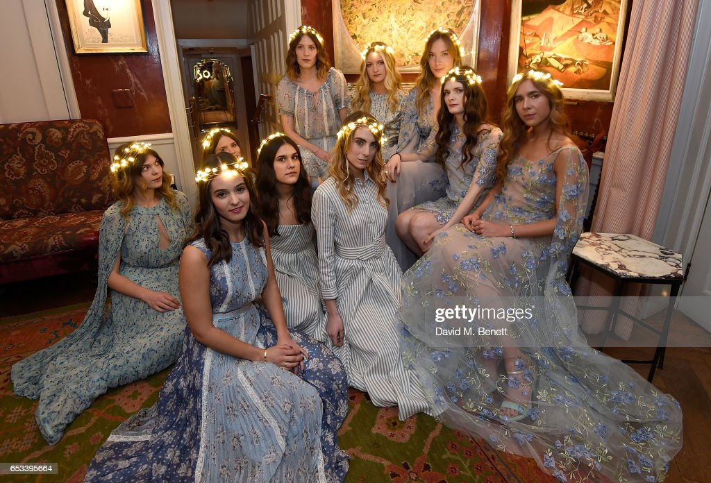 Models at the Luisa Beccaria and Robin Birley event celebrating Sicilian lifestyle, music and fashion at 'Upstairs', at 5 Hertford Street on March 14, 2017 in London, England.