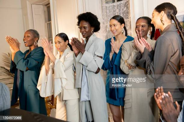 Models at the Maison Bent AW20 Presentation at Pushkin House on February 06 2020 in London England