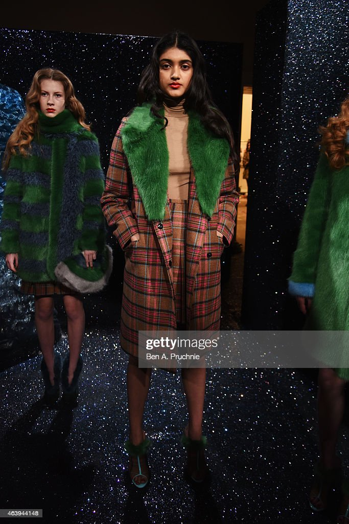 Models at the Shrimps presentation during London Fashion Week Fall/Winter 2015/16 at Somerset House on February 20, 2015 in London, England.