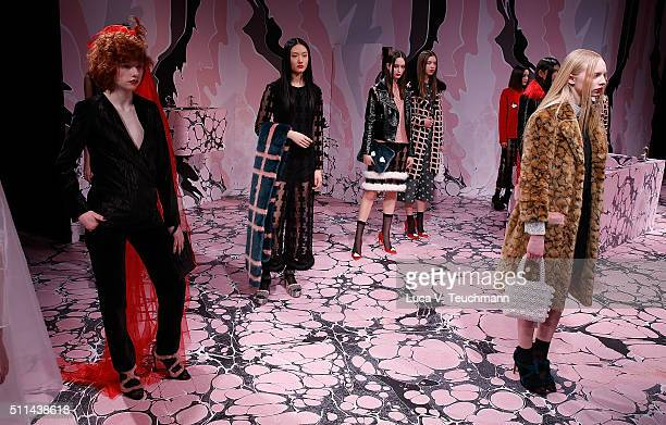 Models at the Shrimps presentation during London Fashion Week Autumn/Winter 2016/17 at ICA on February 20 2016 in London England