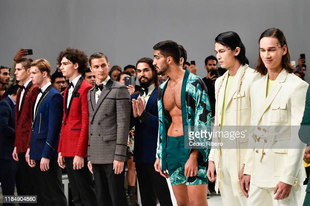 Models at the Varoin Marwah show during the FFWD October Edition 2019 at the Dubai Design District on November 01 2019 in Dubai United Arab Emirates