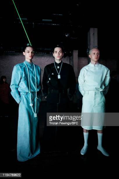Models at the Xander Zhou digital presentation during London Fashion Week Men's June 2019 on June 09 2019 in London England