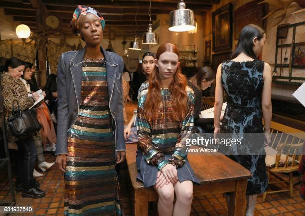 Models attend Mary Kay at Tracy Reese F/W'17 presentation and backstage on February 12 2017 in New York City